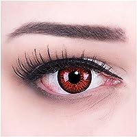 Meralens Crazy Fun Red Demon Kontaktlinsen mit Behälter ohne Stärke, 1er Pack (1 x 2 Stück)