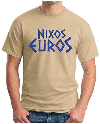 OM3 - NIXOS EUROS - T-Shirt EZB Euro Rettungsschirm EU Angie Brüssel Griechenland Parodie Fun Geek Swag, S - 5XL Khaki