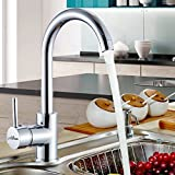 Alton Leo Single Lever Kitchen Mixer Taps Swivel Spout Single Handle Monobloc Kitchen Sink Mixer Tap, 360 Degree Swivel Range Kitchen Taps (Chrome)