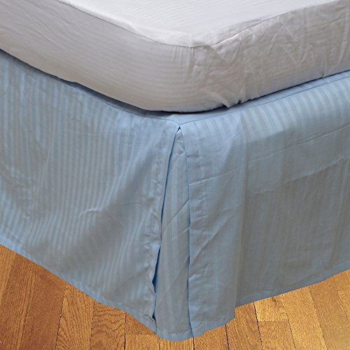 BudgetLinen 1pcs Box Jupe plissée de lit(Bleu Clair A_Rayures,Petite Chambre Double (4 pi x 6 pi 3\