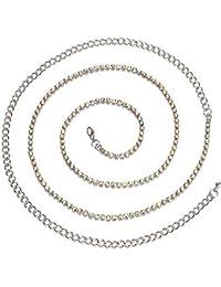 3e668da57b23 Trimming Shop pour Femme en métal argenté Chaîne Charm Ceinture avec 1  rangée Strass pour Fixation