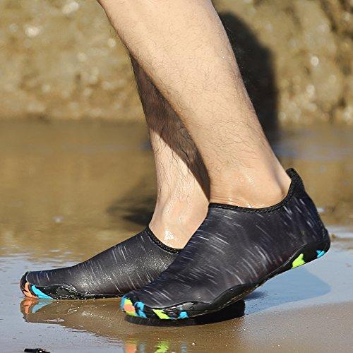 happygo! Unisex Scarpe da Scoglio Uomo e Donna Aqua Water Shoes Traspirante Antiscivolo Sport Acquatici Immersione Scarpette Nero-2