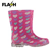 Crafted Kids Light Up Wellies Infants Wellingtons Print Textured All Over Hearts UK C6 (23)