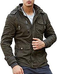 Zicac Manteau veste épais manches longues à capuche amovible doublure en laine homme pour l`hiver