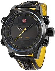Shark SH204 - Reloj Hombre Cuarzo de Cuero Negro, Esfera Negra, Deportivo