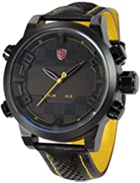 Shark SH204 - Reloj Hombre Cuarzo de Cuero Negro, Esfera Negra