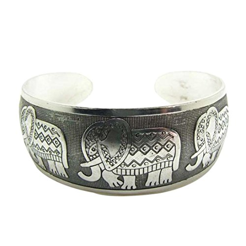 Armband Damen Armbänder DAY.LIN Elefant Tibet Tibet Totem Armreif Schmuck Retro Manschette Breite Armband - Silber Sterling Frauen Uhren