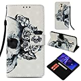 CoverKingz Handytasche für Huawei Mate 20 Lite Handyhülle, Flip Case Cover, Schutzhülle mit Kartenfach, Handy Hülle Motiv Totenkopf
