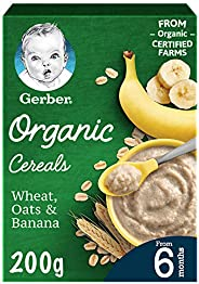 Gerber Organic Infant Cereals Wheat Oats & Ba