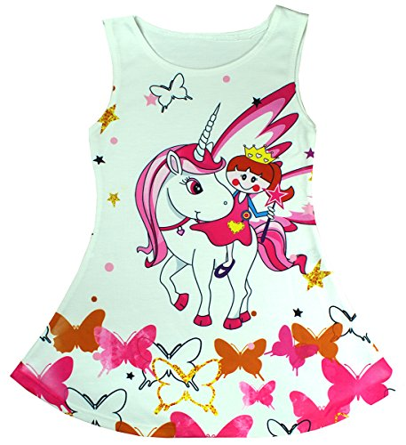 Get Wivvit Girls Unicorn Horse Sleeveless Party Skater Style Sun Dress Sizes From 1 To 10 Years