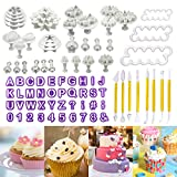 Philonext 84 pz fondant cake Tools set, fondant cake Decorating DIY taglierina glassa stampi alfabeto lettere Flower Sugarcraft Modelling Tool kit set (84 pcs)