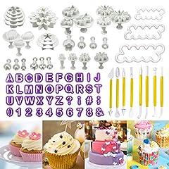 Idea Regalo - Philonext 84 pz fondant cake Tools set, fondant cake Decorating DIY taglierina glassa stampi alfabeto lettere Flower Sugarcraft Modelling Tool kit set (84 pcs)