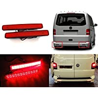 2 x VW Caravelle 2003-10 Multivan Transporter T5, colore: rosso-Copriobiettivo posteriore paraurti Riflettore luce Stop LED coda freno