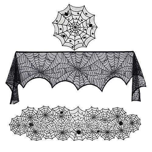 Wmaple Fledermaus Spinnennetz Spitze Tischlampe Kamin Tuch