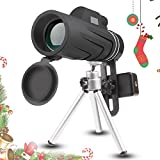 JoyGeek Monocular, 10X42 Handheld Monocular Telescope with Tripod for Smart Phone, Low Night Vision Prism Telescope HD Spotting Scope for Wildlife & Bird Watching, Climbing, Hunting