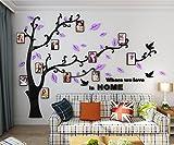 Alicemall Stickers Autocollants Muraux Amovibles 3D en Acrylique Arbre avec des Branches Incurvées et des Cadres de Photo et des Oiseaux (Feuilles Violettes vers Droite)