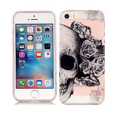 iPhone 5 Custodia Case, Clear Ultra sottile protettiva TPU Silicone Back Rubber Bumper Protector iPhone 5S SE 5G copertura Cover - Ciambella Donuts # 10