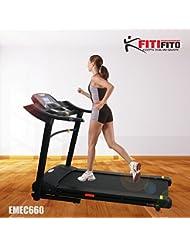 Fitifito 660B Profi Laufband 6PS 16km/h mit LED Bildschirm, Dämpfungssystem, 15 Trainingsmodulen inkl. HRC - Klappbar, Schwarz