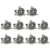 BESTOYARD 10 UNIDS 10 UNIDS Vintage Antique Silver Charms Patrón de Caracol Fabricación de Joyas para Collar Pulsera Hallazgos DIY