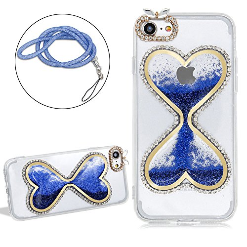 Girlyard Rigida Liquido Custodia per iPhone 5C, Lusso Brillantini Colorata Stella Amore Disegno 3D Clessidra Cristallo Dura Liquid Acqua Water Cover Case Trasparente per Apple iPhone 5C con Pellicola  Love Blu
