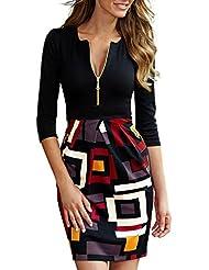 Miusol® Dame Kleid Ausschnitt mit Reißverschluss Casual Patterned Rock Party Cocktailkleid Mini Abendkleid, Schwarz Gr.36-46