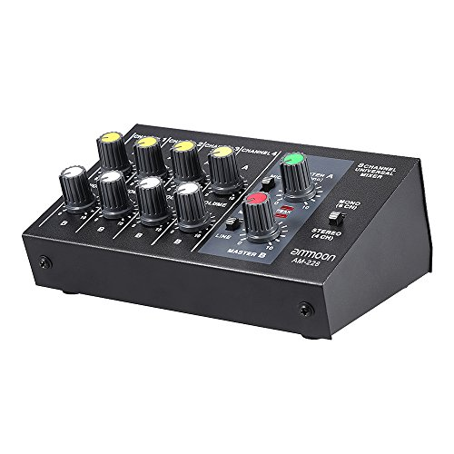 ammoon AM-228 Sound Mixer Ultra Kompakte Low Noise 8 Kanäle Metall Mono Stereo Audio Sound Mixer mit Netzteilkabel