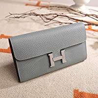 ACDGS 2019 European and American fashion Ms. wallet embossed first layer of leather wallet long paragraph banquet leather clutch (Color : Linen blue, Size : One size)
