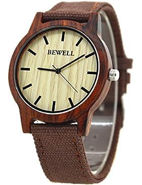 Bewell W134A Art- und Weiseart Mens-Quarz-analoge Armbanduhr handgemacht vom natürlichen Holz mit Segeltuch-Uhr-Bügeln...