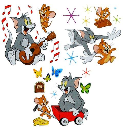 27 tlg. Set XL Wandtattoo Tom und Jerry - Wandsticker Maus Katze Comic Käse Aufkleber Wandaufkleber - selbstklebend für Wohnzimmer und Kinderzimmer Deko Sticker