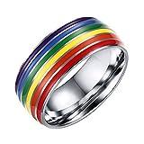 LALOPEZ 316L Edelstahl Regenbogen Hochzeit Band Ring für Unisex Lesben LGBT Homosexuell Lara
