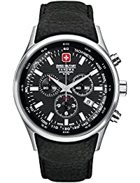 Swiss Military Navalus-Chrono Men's Quartz Watch with Black Dial Chronograph Display and Black Leather Strap 6-4156.04.007
