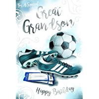 Great Grandson Football Boots Tickets & Scroll Design Happy Birthday Card