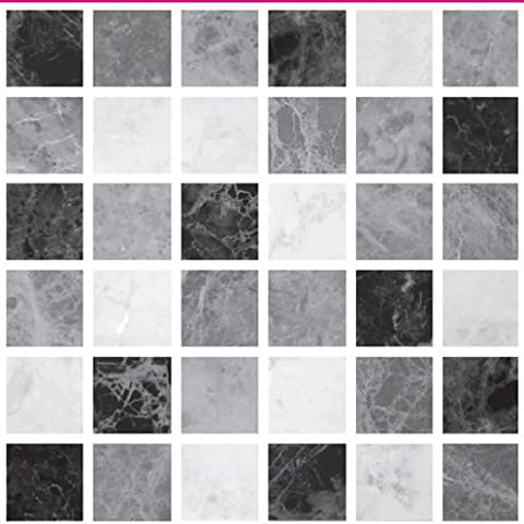 PACK OF 10 LIGHT BLACK GREY MARBLE STONE EFFECT Mosaic tile transfers STICKERS - , peel and stick transform your bathroom or kitchen VERY