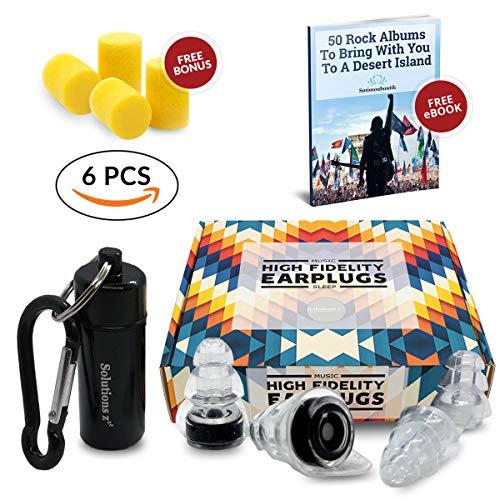 Solutions ZZZ Bouchons d'oreilles [2 tailles] pour Soirée, Concert, Festival, Clubs, DJ, petites oreilles- Maintien la qualité audio- Boîtier alu- GRATUIT:bouchons mousse, 1 boîte cadeau et 1 E-Book