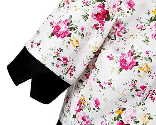 MISSMAO Damen Vintage Kleider Elegant Festtagskleidung Partykleider Retro Kleid A-Linie Baumwolle Schwarz & Weiß & Blume