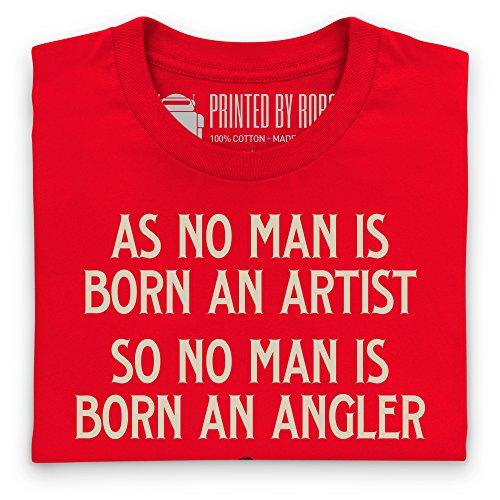 No Man Is Born An Angler T-Shirt, Damen Rot