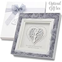 Silver Wedding Anniversary Gift Personalise With Names & Date Below The Anniversary Tree Genuine Swarovski Crystals Choice of 2 Quotes & 2 Colours Unique Custom 25th Wedding Anniversary Gift For Parents & Friends Optional Luxury Gift Box