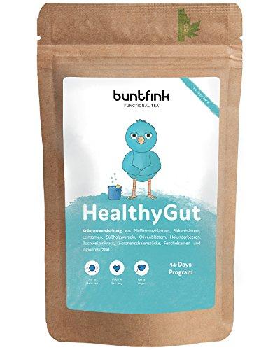HealthyGut Tee zur Colon Cleanse (Darmsanierung), 14-Tage Programm mit E-Book, Leinsamen + Ingwer + Pfefferminztee, perfekt zu deiner Detox- + Entgiftung- + Reinigungs-Kur, 60g, Made in Germany