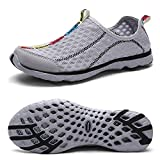 QANSI Men's Breathable sailing up Water Shoes Quick Dry Aqua Trainers gray 44