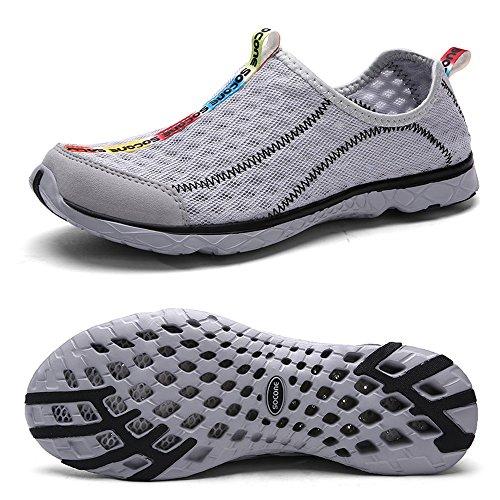 QANSI Chaussures D'eau Sans Lacet pour homme gray