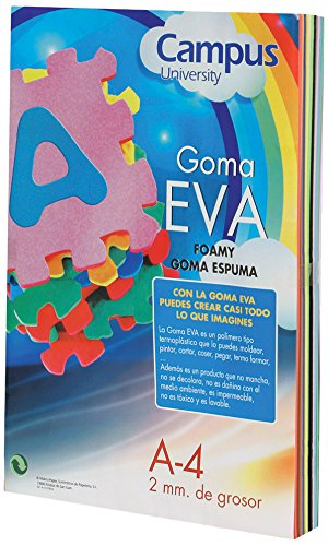 Campus University EVA-A4-PK - Goma, 2 mm, 10 unidades, A4, rosa
