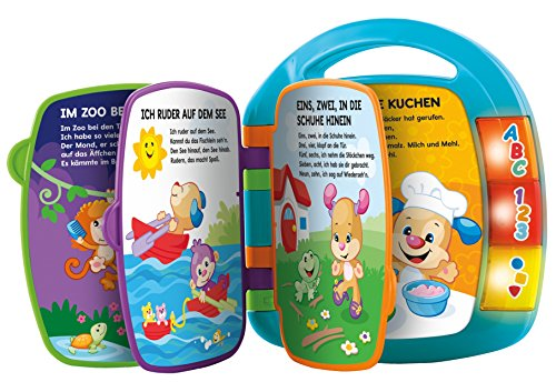 Fisher-Price CDH40 - Lernspaß Liederbuch, Lernspielzeug für Buchstaben, Zahlen und Formen, blau, Kinder und Baby Spielzeug ab 6 Monaten, deutschsprachig