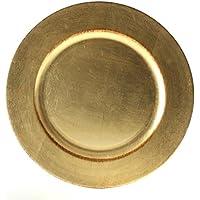 Platzteller Dekoteller Event Teller Unterteller Antik - Gold - farbend 33cm Kunststoff