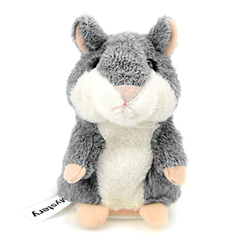 CestMall Talking Hamster Repeats What You Say Electronic Pet Talking Plush Buddy Mouse for Kids, 3 x 5.7 inches (Grey)