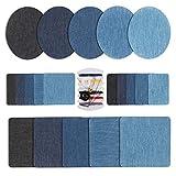 HO2NLE 20 Stück Denim Baumwolle Patches Aufbügelflicken Bügelflicken Jeans Flicken Aufbügeln mit 1 Stück Nähzeug für DIY Reparatursatz 4 Größe