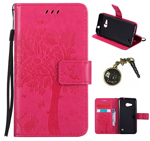 PU Lumia 550 / Nokia N550 Hülle, Klappetui Flip Cover Tasche Leder [Kartenfächer] Schutzhülle Lederbrieftasche Executive Design Microsoft Lumia 550 / Nokia N550 +Staubstecker (2TT)