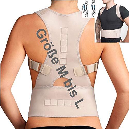 """TOP & MARKE - Größe  \""""M bis L\"""" - Rückenstabilisator Rücken Schulter Geradehalter zur Haltungskorrektur für Damen & Herren - orthopädisch mit 20{f907466cfa014f09a1b7eb04f7ca36308656d324ed29d917e63326db71586c63} Baumwolle & 12 Magneten"""