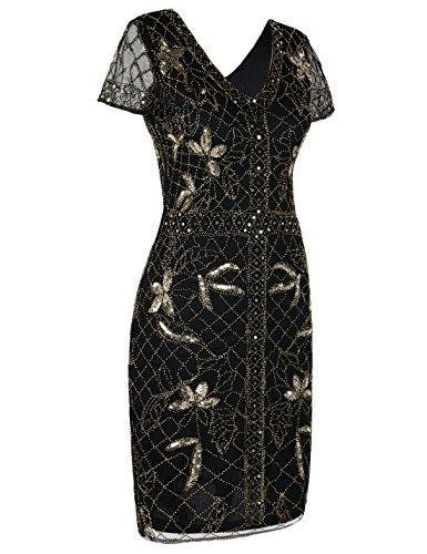 PrettyGuide Damen Flapper Kleid Perlen Deko Kurzarm 1920er Gatsby Kleid Gold