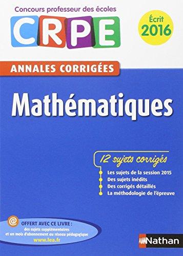 Annales CRPE 2016 : Mathématiques