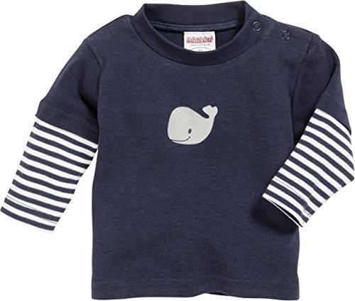Playshoes GmbH Schnizler Unisex Baby Sweatshirt Langarmshirt Wal, Marine Geringelt, Oeko - Tex Standard 100, Gr. 56, Blau (Marine/weiß 171)
